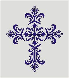 Stencil, Decorative Cross Flourish Design, image is approx. 7 x 8 inches *VECTOR* Stencil Patterns, Stencil Designs, Embroidery Patterns, Cross Patterns, Stencils, Stencil Art, Silhouette Projects, Silhouette Design, Favorite Paint Colors