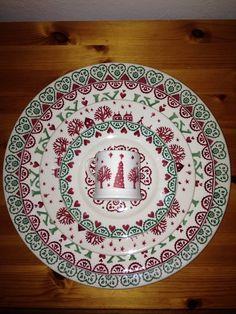 Emma Bridgewater Christmas Town Mini Mug, Joy 6.5 inch Plate 2012, Christmas Town 8.5 inch Plate, Joy 10.5 inch Plate 2012 and Joy Cake Plate 2012