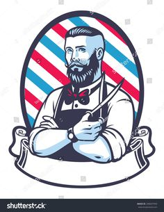 retro illustration of barber man