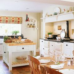 Country Kitchen ~ A neutral colour scheme in this open-plan kitchen/diner opens… Aga Kitchen, Open Plan Kitchen Diner, Kitchen Dinning, Kitchen Ideas, Cozy Kitchen, Kitchen Reno, Kitchen Designs, Dining Room, Little White House
