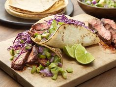 Chili-Rubbed Steak Tacos Recipe : Ellie Krieger : Food Network. I used this steak recipe for fajita style instead. I think the tacos are worth a try too.