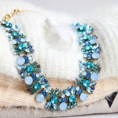 Pretty Ocean Blue Statement Necklace #blue #fashion #statementnecklace #necklace - 43,90  @happinessboutique.com