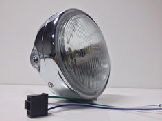 "Motorcycle Headlight 6-1/2"" Chrome Shell Side Mount w/ Light Cafe Chopper Bobber #SpeedMotoC0"