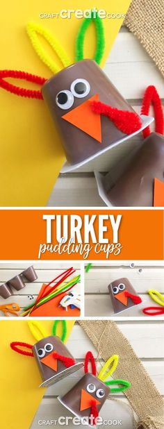 These Turkey Pudding Cups make a fun dessert for those kids who dislike pumpkin pie during Thanksgiving dinner. via @CraftCreatCook1