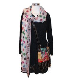 Let colorful accessories brighten your winter look - Raj Lotus eyelet dress, scarf and messenger, Kristine Riis Designs Maribest White Water necklace #spring14 #bohochic