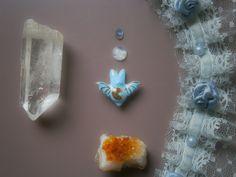 Handmade ceramic pendant gold bat