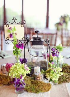 rustic moss wedding centerpiece