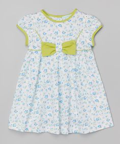 Blue & Lime Green Bow Cap-Sleeve Dress - Infant & Toddler