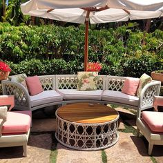 beverly hills hotel patio decor pink pillow rattan furniture hollywood regency decor