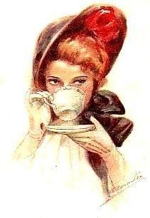 Drinking tea in true lady-like fashion.