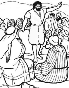 john the baptist coloring pages | John The Baptist Baptizes Jesus In River Jordan Look Coloring Pages