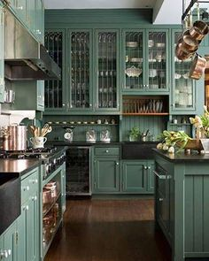 These perfect evergreen cupboards. | 21 Photos That Will Give You The Most Intense Kitchen Goals