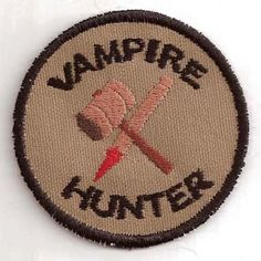 Vampire Hunter Geek Merit Badge Patch from Storied Threads. Saved to Plenty of Patches. Cool Patches, Pin And Patches, Sew On Patches, Iron On Patches, Jacket Patches, Vampire Hunter, Buffy The Vampire Slayer, Bubbline, Morale Patch