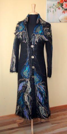 Hey, I found this really awesome Etsy listing at https://www.etsy.com/listing/214755419/beautiful-felted-wool-coat-peacock-dark