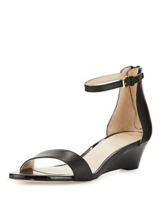 Cole Haan - Adderly Grand Leather Low-Wedge Sandal Low Wedge Sandals, Low Wedges, Cole Haan Shoes, Neiman Marcus, Open Toe, Ankle Strap, Luxury Fashion, My Style, Leather