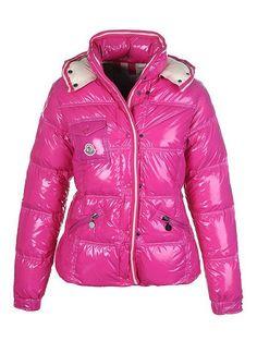 Günstige Moncler Rosa Mock-Kragen und Reißverschluss-Kurzschluss Beautiful Frauen Coats Outlet Moncler Jacke