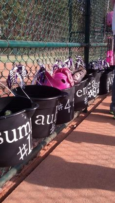 Dugout Buckets. Cute baskets to hang in dugout to keep softball equipment organized!!!