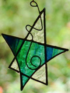 Green Orange Christmas Star Stained Glass Suncatcher Tree Decoration or Gift | eBay