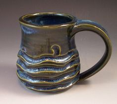 Hand Made Pottery Wave Mug/Blue Pottery by AnneMariesPottery
