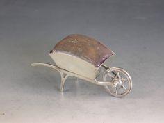Edwardian Novelty Silver Wheel Barrow Pin Cushion
