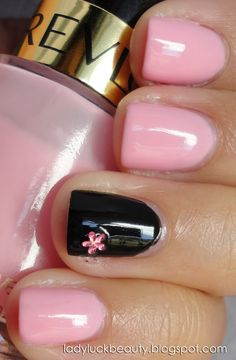 Inspired by Mary Kay Logo -:Pink: Revlon Pink Chiffon -  Black: Sinfulcolors Black on Black -  Flower: from La Española