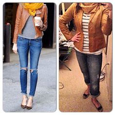 Brown Leather Jacket-Goodwill Stripe Shirt-Alloy.com Yellow Infinity Scarf-Jane.com Jeans-Gap Outlet Animal Print Shoes-Target