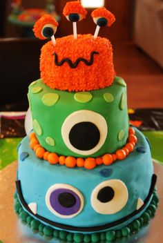 Monster Birthday Party Cake - 3 tier