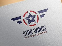 Premade Star Wings Logo Template Vector Icon Emblem by RageRabbit