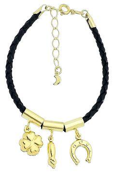 Pulseira da sorte em couro sintético c/ berloques folheados a ouro. www.joiasfolheadasdiretodafabrica.tk