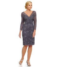 83e922aaaac Gunmetal Marina V-Neck Illusion 3 4 Sleeve Beaded Lace Dress Bride Party