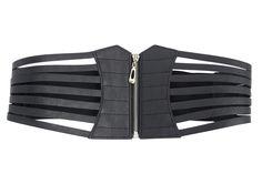 Gothic black faux leather corset Cage Zip Waist Belt