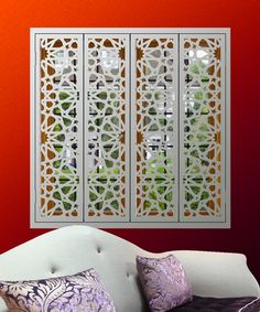 Largest range of decorative laser cut metal interior window shutters in Europe. Custom made window shutters with added security features available as full height and tier on tier window styles. Timber Screens, Timber Windows, Window Screens, Screened In Porch Furniture, Screened Porch Decorating, Indoor Shutters, Interior Window Shutters, Security Shutters, Shutter Designs