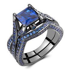 Caperci Black Sterling Silver 925 Princess-Cut Created Blue Sapphire Solitaire Wedding Engagement Ring Set Size 8    There are so many awesome pieces of womens jewelry to pick from.  Blue sapphire jewelry is one of my favorites as its timeless, elegant not to mention trendy.  I really love some of the silver and sapphire necklaces and rings.  Overall I am the most impressed with rose gold blue sapphire jewelry as its unique and makes a great gift.