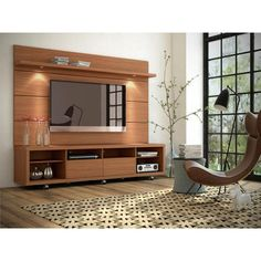 Manhattan Comfort Cabrini Panel Collection Floating Wall TV Panel TV Wall Mount with Shelf, L x D x H, Nut Brown Tv Stand Cabinet, Tv Cabinet Design, Tv Wall Design, Small Cabinet, Tv Stand And Panel, Tv Panel, Wall Unit Designs, Living Room Tv Unit Designs, Tv Wall Mount Designs
