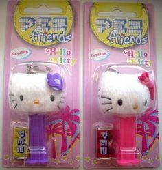 Pastor PEZ: Mini Hello Kitty Plush Keyrings on Non-Plush Pez Dispenser