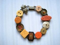 Upcycled Bracelet Watch Parts Clay Tiles Shiny Bits by Physaria, $19.00, http://www.etsy.com/listing/111023606/upcycled-bracelet-watch-parts-clay-tiles?ref=sr_gallery_7_search_query=upcycled+bracelet_view_type=gallery_ship_to=US_search_type=all  Made of clay and repurposed watch parts, it is a fun way to make use of your old watches