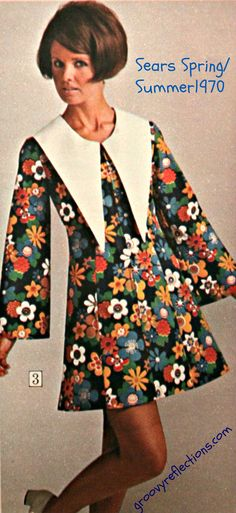 You'd be angry too if you had to model a dress with a ridiculous collar like this. Sears catalog Spring-Summer 1970.