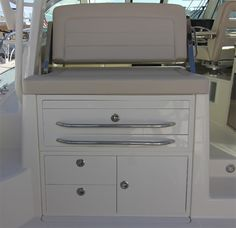 Boston Whaler 345 Conquest: Tool and tackle storage is in the cabinets below.