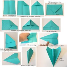 Full+paper+airplane+instructions+tutorial+with+astrobright+colored+teal+paper.jpg (1600×1600)