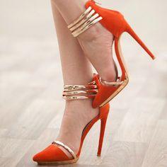 Orange High Heels Pointed Toe Stiletto Heel Two Tone Women's Pumps Pointed Toe Heels, Stiletto Heels, Shoes Heels, Strappy Heels, Dress Shoes, Orange High Heels, Orange Pumps, Orange Sandals, Orange Shoes