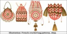 Victorian Crocheted Purses and Bags - Designer & Leather Crochet Purses and Bags Crochet Purse Patterns, Stitch Patterns, Easy Crochet Projects, Crochet Ideas, Crocheted Purses, Crochet Shell Stitch, Crochet Handbags, Crochet Basics, Purses And Handbags