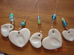 A girl and a glue gun - salt dough thumbprint pendants