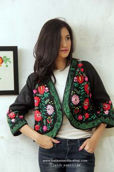 Hungarian embroidery jacket.  Batik Amarillis' Creative Director Selly Hasbullah is huge aficionado of Hungarian embroidery since she was a small kid ,she loves studying the variety and various pattern of rich,colorful,meticulous&intricate its embroidery from different regions in Hungary such as Kalocsa,matyo,kalotazeg etc we love combining its rich,meticulous,colorful & intricate embroidery with Indonesia's traditional textiles