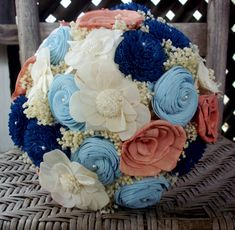 Navy, dusty rose and light blue bridal bouquet/Sola flower bouquet/rustic bouquet/rustic wedding/beach bouquet/beach wedding/sola wood Rustic Bridal Bouquets, Bridal Bouquet Blue, Blue Bridal, Rustic Bouquet, Winter Bridal Showers, Beach Bridal Showers, Bridal Shower Rustic, Rustic Wedding, Bridal Shower Prizes