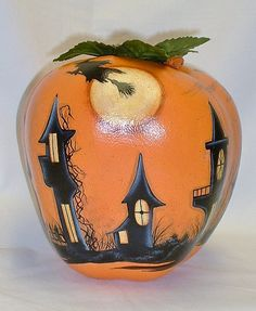 Halloween Town Apple Gourd  Hand Painted by FromGramsHouse on Etsy