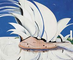 Painting Title: Opera House 1982 x Oil on canvas + mixed media Brett Whiteley Famous Australian artists - Cityscape Painting - Century painter Australian Painting, Australian Artists, Artist Art, Artist At Work, 20th Century Painters, Arte Pop, Aboriginal Art, Postmodernism, Landscape Paintings