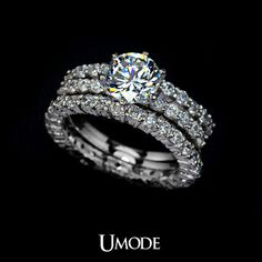 Best Quality 7.5mm 1.75ct Swiss Cubic Zirconia Diamond Three Band Wedding Ring (Umode UR0002) $21.76