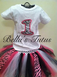 First Birthday Zebra Print tutu! Visit Bella's Tutus for more information http://www.facebook.com/TutusByBella#!/TutusByBella