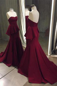Sweetheart Prom Dress,Mermaid Prom Dresses 2018,Satin Evening Gowns,Formal Dress
