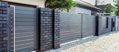 Shades of Bronze House Front Wall Design, House Fence Design, Exterior Wall Design, Garden Wall Designs, Modern Fence Design, Front Gate Design, Main Gate Design, Tree House Designs, Compound Gate Design